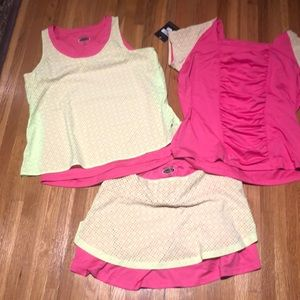Bollé tennis wear skirt and 2 tops